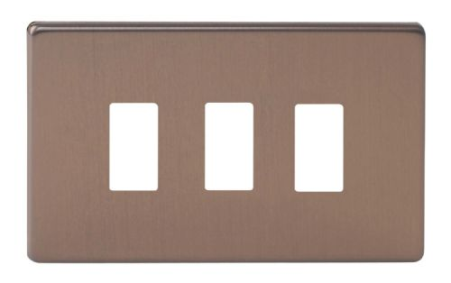 Varilight XDYPGY3S.BZ Screwless Brushed Bronze 3 Gang PowerGrid Plate (Twin Plate)